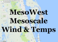 KSC Mesonet. Mesoscale coastal wind field, updated every twenty minutes. Or at least when it's working it updates every twenty minutes, anyway.